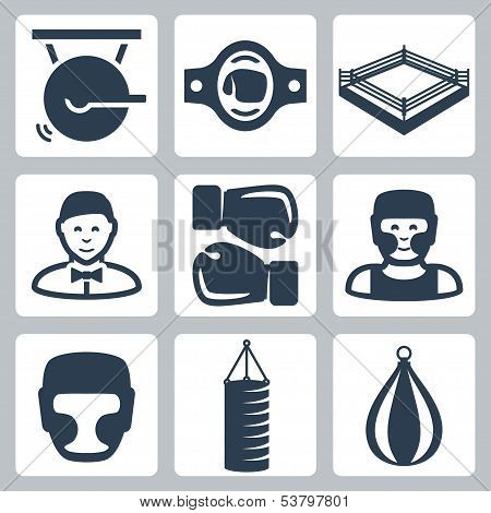 Vector Boxing Icons Set: Gong, Belt, Ring, Referee, Boxing Gloves, Boxer, Boxing Helmet, Punching Ba