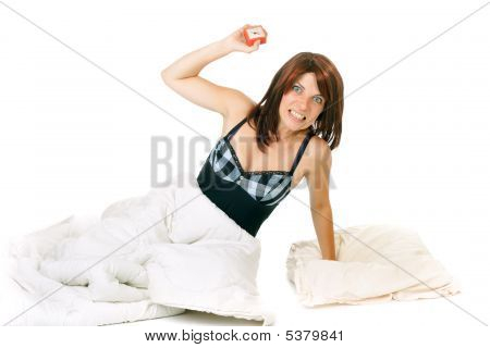 Woman Throwing Clock
