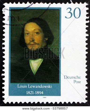 Postage Stamp Gdr 1990 Louis Lewandowski, Composer
