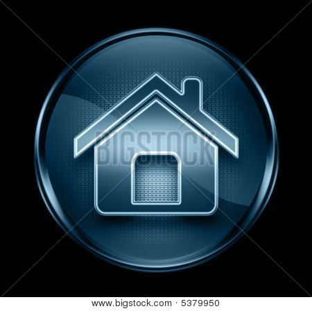 Home Icon Dark Blue, Isolated On Black Background
