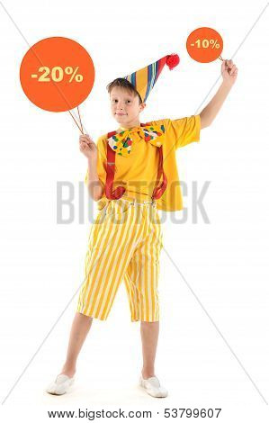 Clown Kid With Discounts Signs