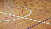 pic of indoor games  - Wooden floor of sports hall with marking lines - JPG