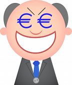 stock photo of sneaky  - Vector cartoon funny boss greedy and sneaky with money eyes - JPG