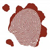 stock photo of dna fingerprinting  - Vector isolated blood fingerprint on white background - JPG