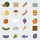 Vector Food Icons Set In 'flat' Style