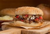 foto of souvlaki  - A donair burger with melted cheese tomato onion and sauce - JPG