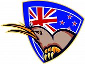 picture of angry bird  - Illustration of an angry kiwi bird head viewed from side with New Zealand flag in background set inside crest shield done in retro style - JPG