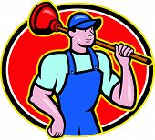 stock photo of plunger  - Illustration of a plumber holding plunger set inside oval done in cartoon style on isolated background - JPG