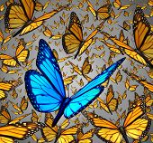 stock photo of butterfly  - New vision standing out from the crowd business concept as a symbol of individuality and innovative thinking as a group of Monarch butterflies flying with a single special insect colored blue as an icon of creativity - JPG