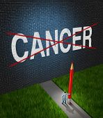 stock photo of scientist  - Fight cancer and treatment for cancerous tumors health care symbol with a medical metaphor of hope with a doctor or hospital research scientist holding a red pencil crossing out the disease word painted on a brick wall - JPG
