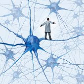 foto of neuron  - Brain research challenges as a medical concept with a science doctor walking on a human neuron connection as a highwire tight rope metaphor through a maze of neurons as an icon of finding a cure for autism alzheimers and dementia - JPG