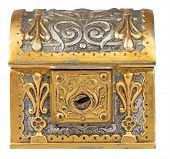 Ancient golden treasure chest isolated on a white background with clipping path