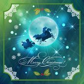 stock photo of sleigh ride  - Santa Riding Sleigh in Christmas Night Background - JPG