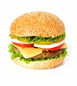 pic of hamburger  - Big hamburger close up isolated on white background - JPG