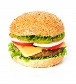 pic of sesame seed  - Big hamburger close up isolated on white background - JPG