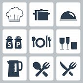 stock photo of tumbler  - Vector isolated tableware icons set over white - JPG