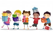 foto of gift wrapped  - Illustration of a Group of Kids Carrying Nicely Wrapped Gift Boxes - JPG