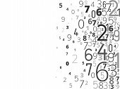 stock photo of numbers counting  - Vector black background from different numbers typography from right - JPG