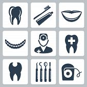 Vector Isolated Dental Icons Set