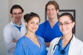 stock photo of medical staff  - group of young medical staff team portrait together - JPG