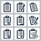 stock photo of clipboard  - Vector isolated clipboard list icons set over white - JPG