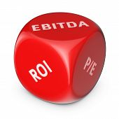 picture of amortization  - Big red dice with financial investments options - JPG