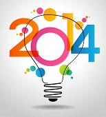 stock photo of wallpaper  - Vector 2014 Happy New Year background with bulb - JPG