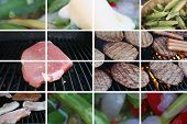 foto of bbq food  - montage of the coming of summer and the bbq season ahead - JPG