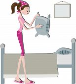 picture of fluffing  - An Illustration of a Woman Making Bed against white background - JPG