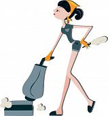 stock photo of house cleaning  - An Illustration of a Woman Vacuuming against white background - JPG