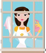picture of house cleaning  - An Illustration of a Girl Cleaning Window against white background - JPG