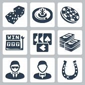 stock photo of bandit  - Vector isolated casino and gambling icons set - JPG
