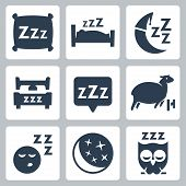 stock photo of moon silhouette  - Vector isolated sleep concept icons set - JPG