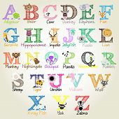 image of bee cartoon  - Illustrated Alphabet with animal illustrations for each letter - JPG