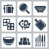stock photo of stew pot  - Vector isolated kitchenware icons set - JPG