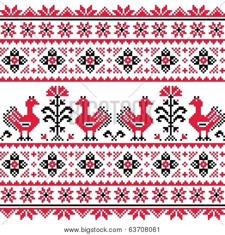 Ukrainian Slavic folk knitted red emboidery pattern with birds