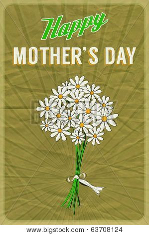 Retro poster with a posy of daisies and Happy Mother's Day greeting, on crumpled brown paper background. EPS10 vector format