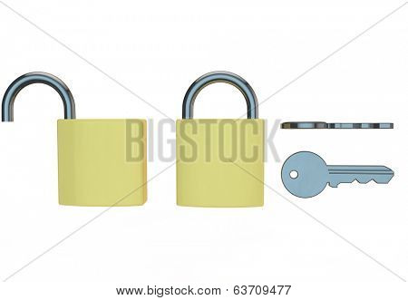 open and closed padlock 3d render