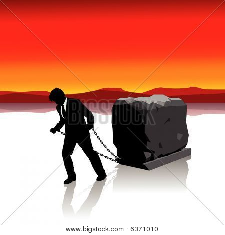 Businessman Held Back by Heavy Load Illustration : Bigstock