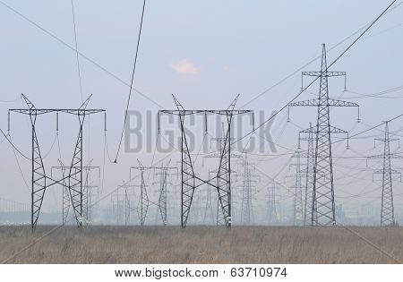 Power Line At Evening