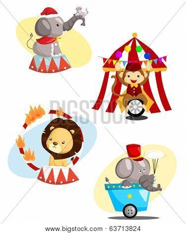 Circus Carnival Animal Vector Set