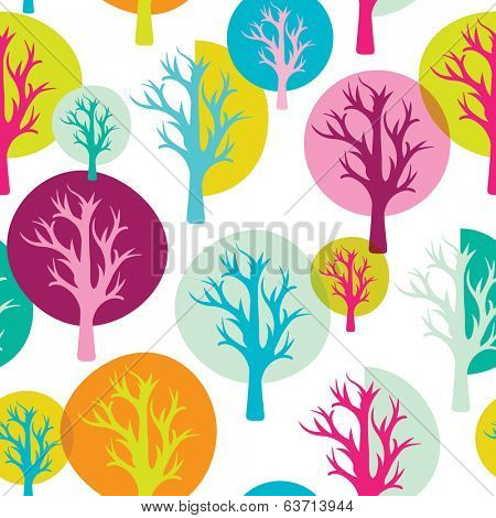 Seamless colorful forest tree quirky retro background pattern in vector