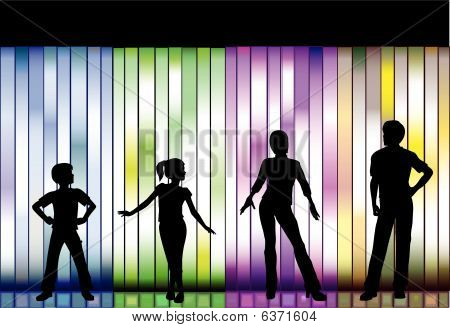 Family Fashion Show Clothes On Colorful Background