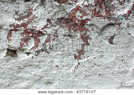 Old Concrete Wall With Multi-layer Shelled Surface