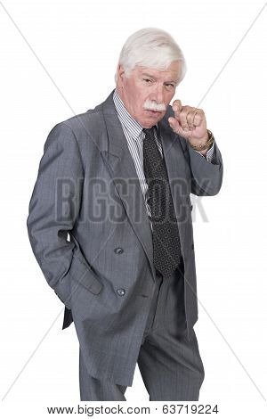 Old Man In Gray Suit And Animated Hand