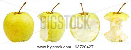 Bitten And Whole Golden Delicious Apple