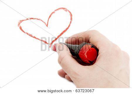 Drawn Heart In Lipstick