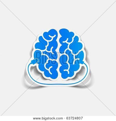 realistic design element: brain-usb, plug