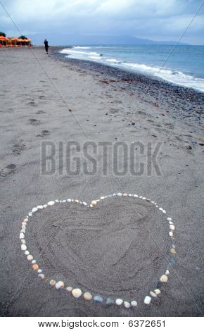 Heart Message At The Beach