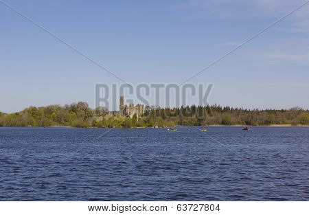 Castle island Lough Key forest park lake county Roscommon Ireland